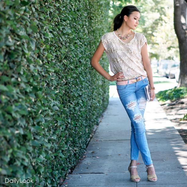 Sequin and Lace Striped Tee