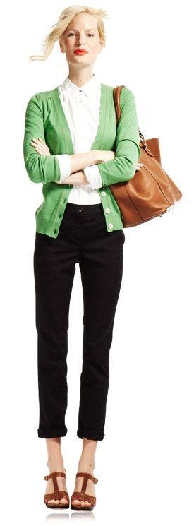green cardigan, white shirt, black cropped pant, brown sandals