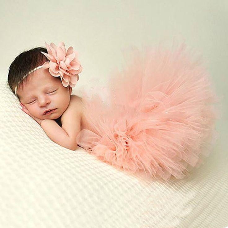 Fashion Newborn Baby's Matching Headband Hairband and Tutu Skirt Cute Baby Photography Prop Solid Skirt F1