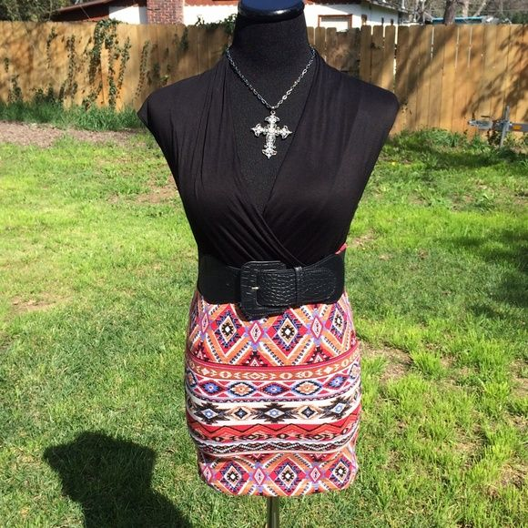 Aztec Body-con Mini Skirt Never worn, perfect condition. Beautiful Aztec pattern. Size Small. Elastic waist. Belt not included Skirts Mini