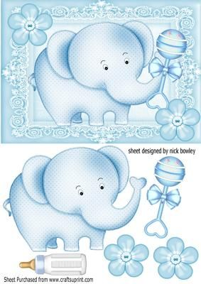 Cute blue baby Elephant with buttons bottle rattle on Craftsuprint - Add To Basket!
