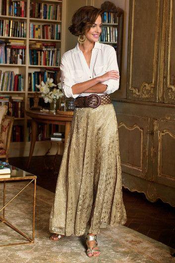 Silk Sienna Skirt - Matte Gold Satin Skirt, Satin Skirt   Soft Surroundings