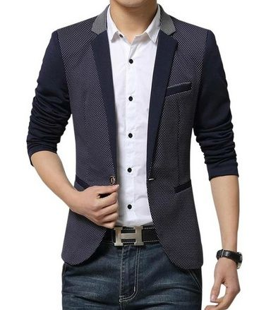 nice LATUD Men's Splice Patched Slim Fit One Button Separate Blazer Suit Jacket - For Sale Check more at http://shipperscentral.com/wp/product/latud-mens-splice-patched-slim-fit-one-button-separate-blazer-suit-jacket-for-sale/