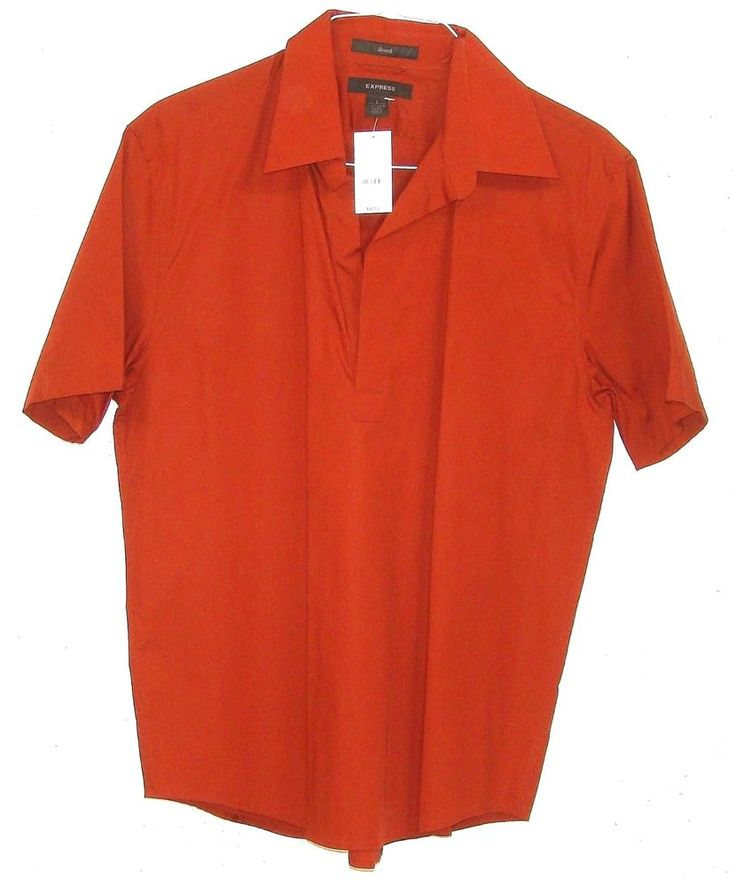 New Express Stretch Mens Burnt Orange Short Sleeve No