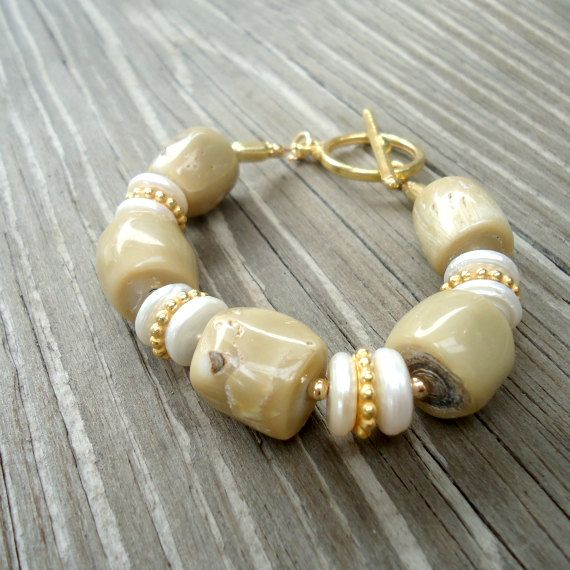 Tan Bracelet Gold Jewelry Coral Pearl Gemstone Jewellery Beaded Unique Chunky Funky Classic B-275