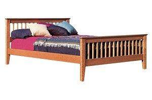 La Cama Platform Bed. Simple ranch styling with a low headboard and footboard design. Made in Vermont.