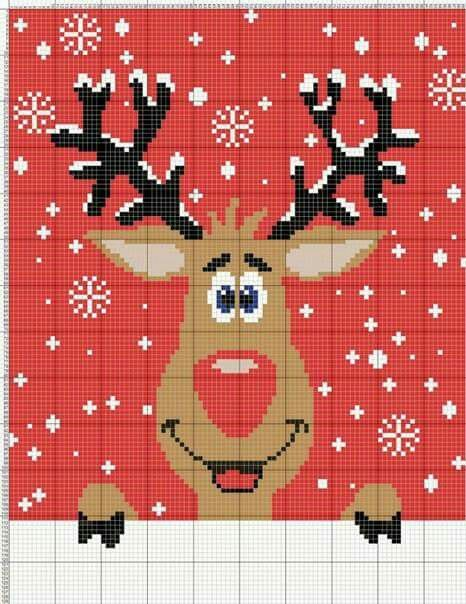 Christmas reindeer cross stitch.