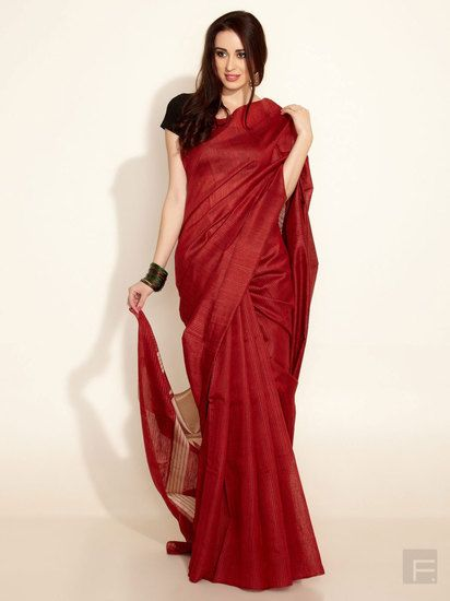 Color combo idea: Maroon with gold or black blouse. Tussar Woven Temple Pallu Sari - Fabindia Sarees for indian woman