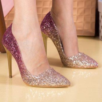 Pantofi stiletto stralucitori aurii cu roz. Exteriorul este realizat din material textil. Dimensiunea tocului este de 11 cm