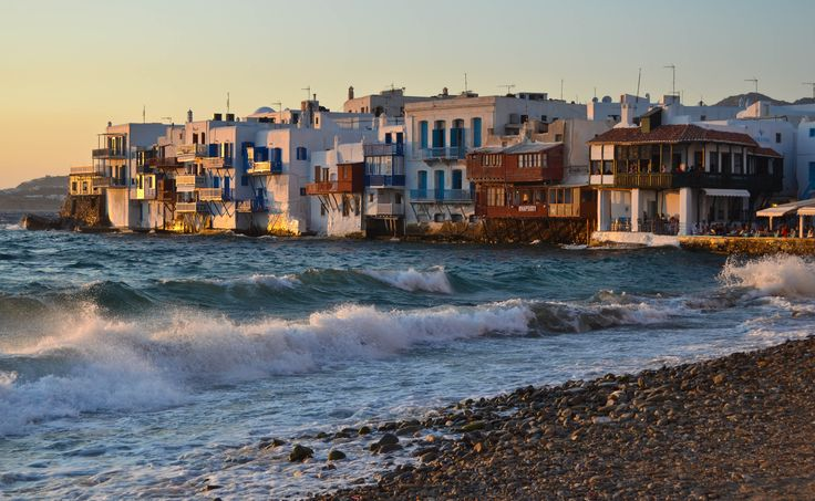 There's more to Greece than an economic crisis. Sunset at Little Venice, Mykonos.