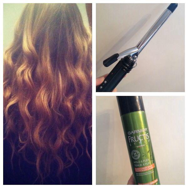 Beach Waves -- created with Conair half inch curling iron and Garnier Fructis hair spay