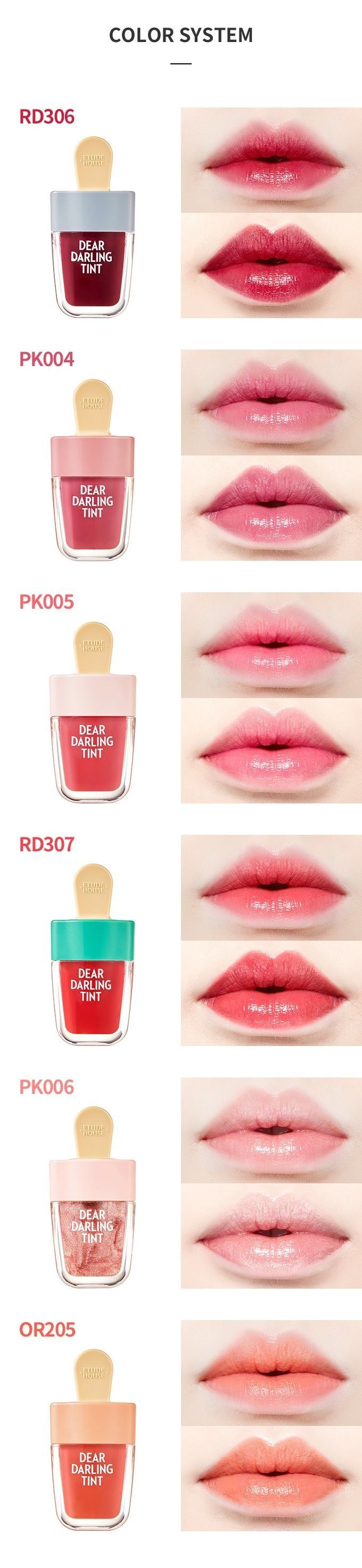Etude House Dear Darling Tint- Peach Red, Red Bean Red & Watermelon Red- (YesStyle, Ebay)