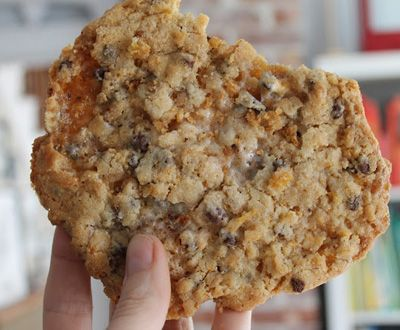 Cornflake, marshmallow, chocolate and peanut butter chip cookies. Try making them a bit smaller than recipe calls for.
