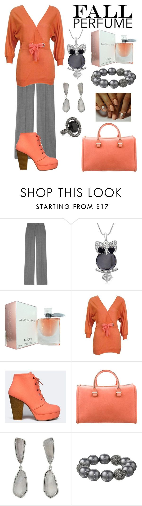 """Fall Perfume:  Gray and Peach"" by tammy-gardner ❤ liked on Polyvore featuring beauty, STELLA McCARTNEY, Lancôme, Chloé, Qupid, Victoria Beckham, Kendra Scott, Kenneth Jay Lane, Oscar de la Renta and fallperfume"