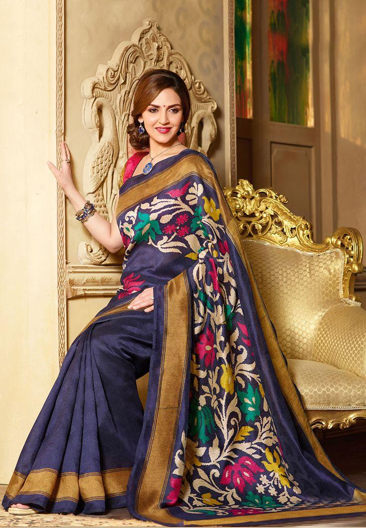 Navy Blue Art Silk Saree With Blouse: SGA4950