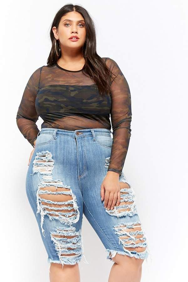 d6301e2dad Forever 21 Plus Size Distressed Denim Bermuda Shorts | Latecia ...