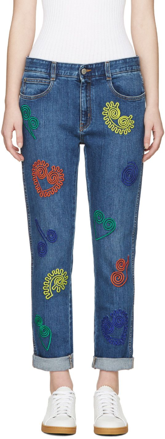 Stella McCartney - Blue Embroidered Skinny Boyfriend Jeans