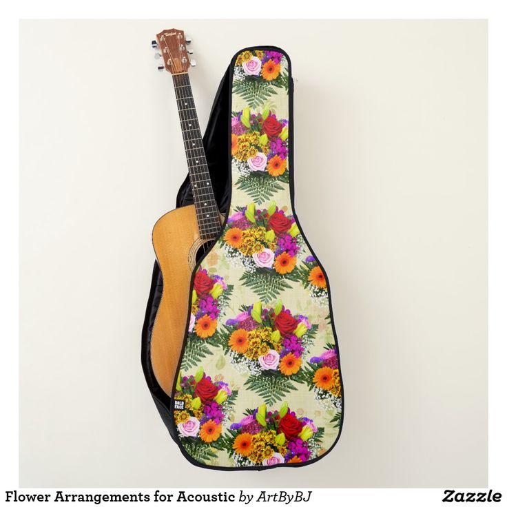 Flower Arrangements for Acoustic Guitar Case  - A Wonderful Christmas Present or Birthday Gift for ANY Guitar Player - order it as an Electric Guitar Case or an Acoustic Guitar Case. . . .   2 pockets, Handle and Back-Pack Style Straps as well, . . .   AND SWAP-ABLE  Front Designs. -  Visit to see all the details and LOTS MORE!