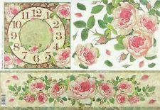 Ricepaper / decoupage carta, scrapbooking fogli Orologio con rose