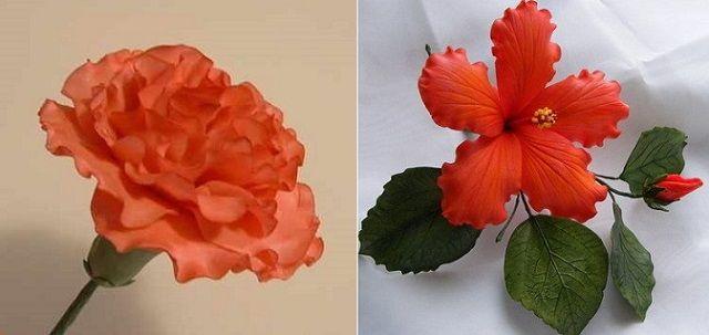 carnation tutorial sugar flower tutorial left and hibiscus flower tutorial right from Dusky Rose Veiners UK