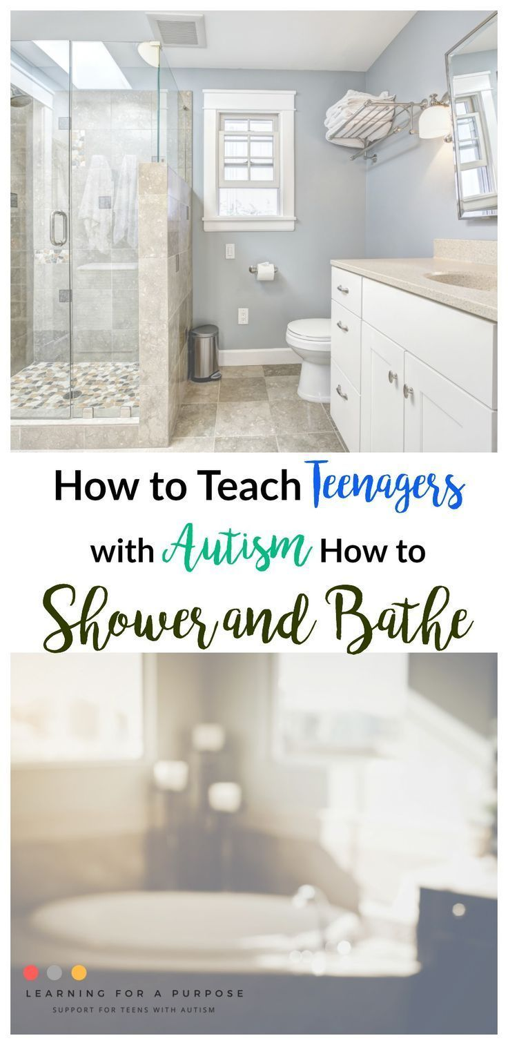 Does your teen with autism struggle to independently shower and bathe?  Check out our suggestions to help them! #autism #teen #shower #bath # ...