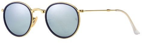 Ray-Ban Men's Mirrored Round Folding RB3517-00old Round Sunglasses