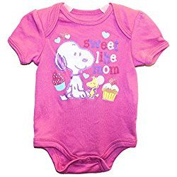 PEANUTS - Snoopy & Woodstock Sweet Like MOM Baby Girls Bodysuit Outfit (12 Months)