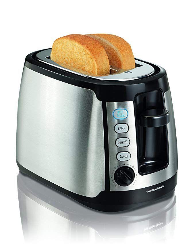 Amazon Com Hamilton Beach Keep Warm 2 Slice Toaster 22811 Kitchen Dining Toaster Stainless Steel Toaster Toaster Reviews