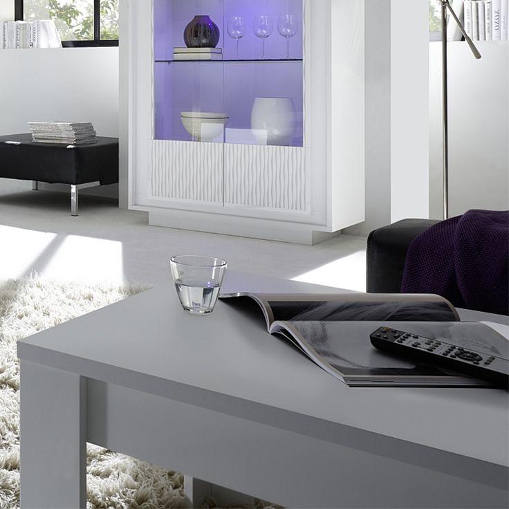 Table basse blanc laqué mat design BURTON