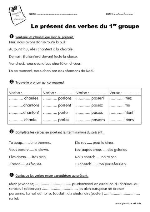 Présent des verbes du 1er groupe - Ce1 - Exercices | L3, L4 ... | Pinterest | French grammar ...