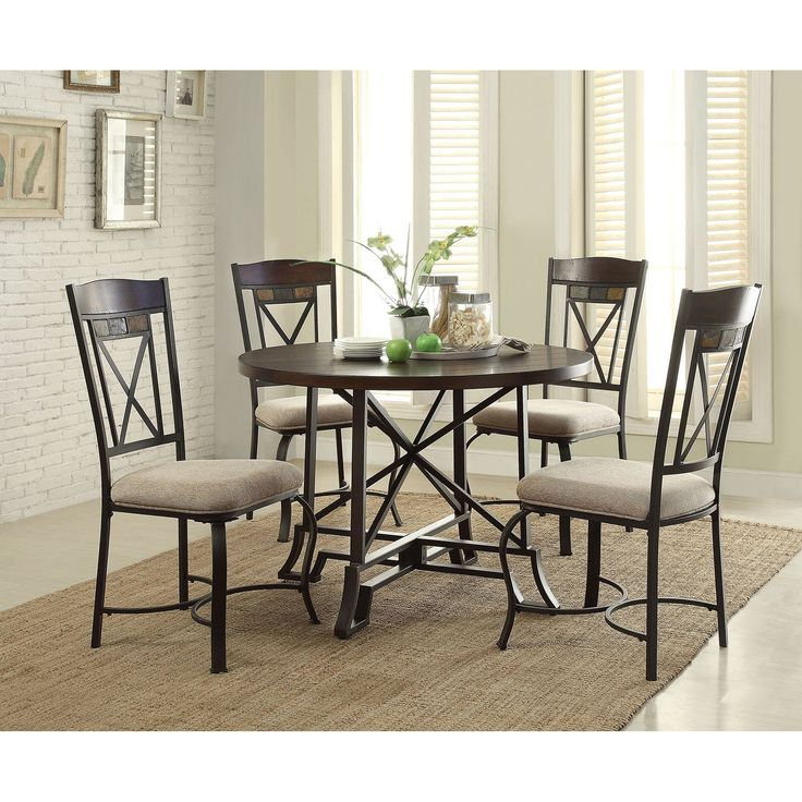 Acme Furniture Hyatt 5 Piece Round Dining Table Set | from hayneedle.com