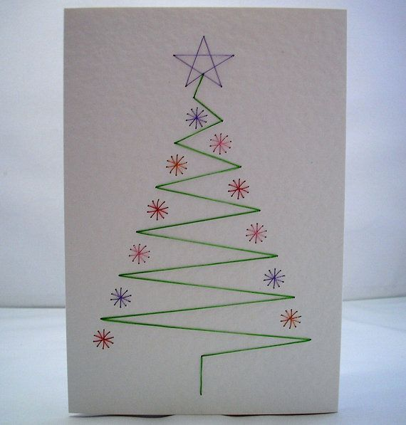 Hand Embroidered Christmas Tree Greeting Card by StitchyStationery, £3.50