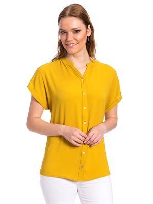Sarı Gömlek, Urun kodu: 7Y2353Z8-JWG,Ana Kumaş:%98 Polyester %2 Elastan,