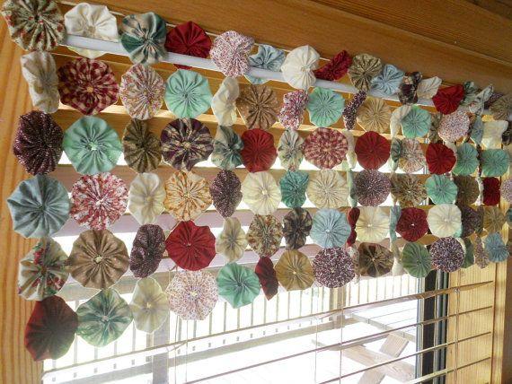 Window Valance YoYo Quilt Table Runner Nursery by YoYoCottage