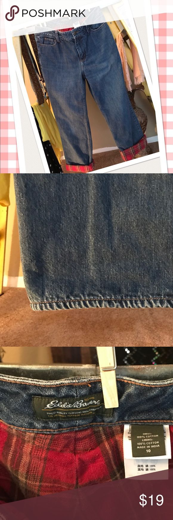 """Eddie Bauer Flannel Lined Jeans Winter ❄️ will be here and these flannel lined jeans will be perfect for hiking or those long boring cold football 🏈 games😂 10"""" front rise and 30"""" inseam. Heavy duty and warm. No holes rips tears or stains. Good pre-owned condition with signs of wear from washing and normal use. 👀all pics, ask ?s 👀Pet Friendly and No Smoke 💨 🏡 Eddie Bauer Jeans Straight Leg"""