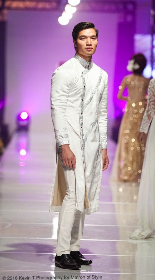 Wedding ao gam or men's ao dai by Jacky Tai at Viet Fashion Week 2016 | Kevin T Photography for Matron of Style