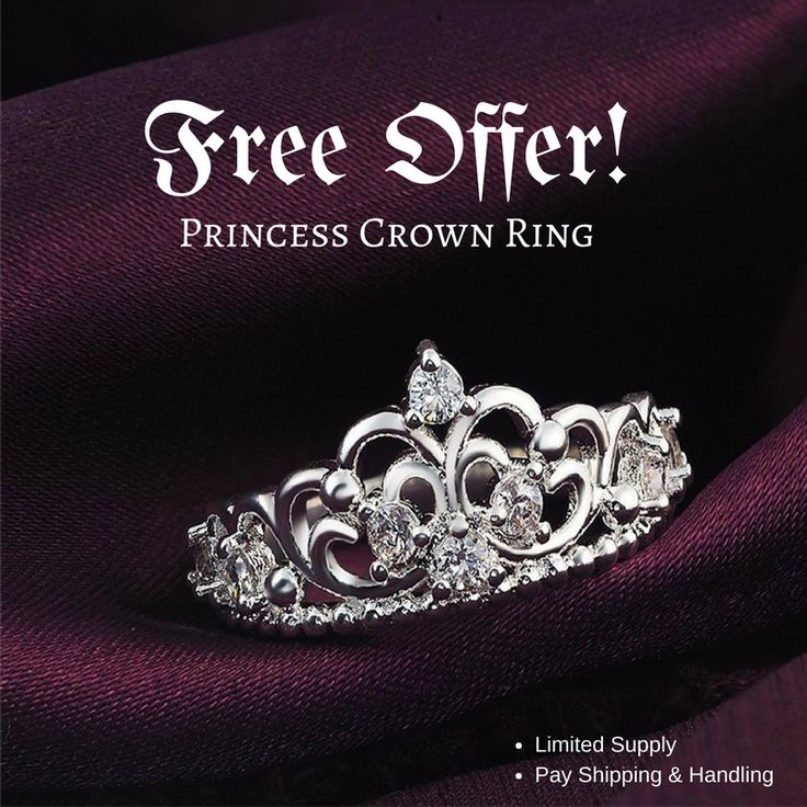 Are you planning a Disney themed wedding?  We are offering these elegant princess crown rings FOR FREE. All that you need to do is pay for shipping. Click on the image to get yours while supplies last! Feel free to repin and share with your friends that would like this offer.
