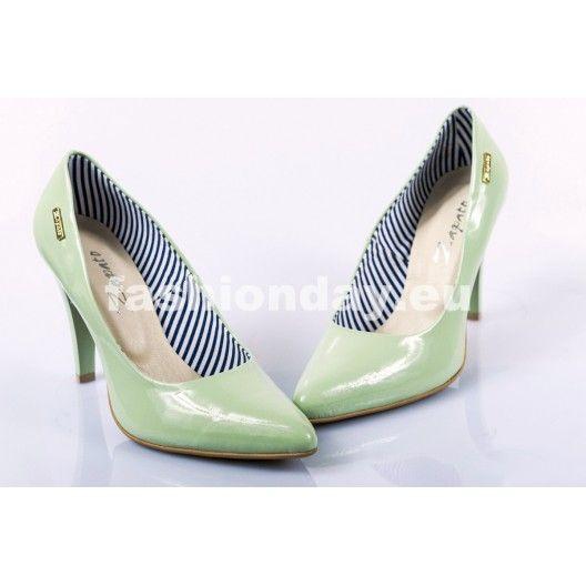 Dámske kožené lodičky zelené DT237 - fashionday.eu