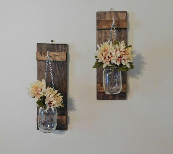 Wall Sconces Flower Vases : Hanging Mason Jar Wall Sconce Flower Vase Candle Sconce Wall Mounted Rustic Decor Hanging ...