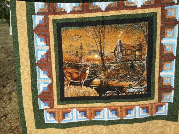 Wildlife Deer Quilt Hunter sportsman quilt by QuiltsByTaylor, USD 425.00 Quilts Pinterest ...
