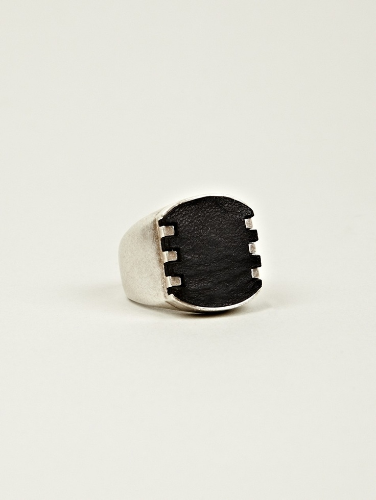 maison martin margiela 11 men s brass and leather signet ring in silver black at oki ni. Black Bedroom Furniture Sets. Home Design Ideas