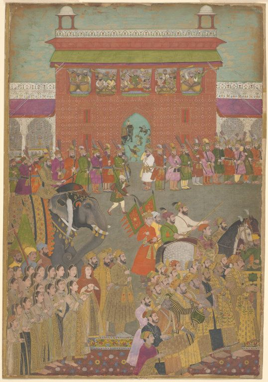 India, A Procession Scene with Musicians, from a copy of the Padshanama, mid-17th century