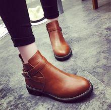 Moda del estilo británico mujeres de botas de invierno transpirable hebilla decoración de la correa de cuero de la PU plataforma del alto talón cuadrado zapatos F0086(China (Mainland))