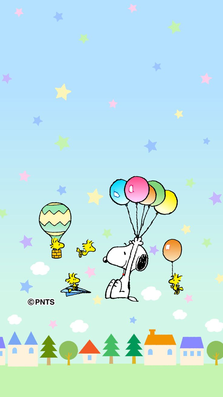 Snoopy and Woodstock flying with balloons.
