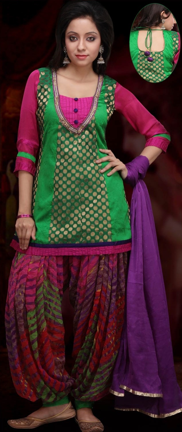 #Green and Red Art Chanderi and Dupion #Silk Patiala with Short Kurta $63.17 | Shop Now @ http://www.utsavfashion.com/store/sarees-large.aspx?icode=kjn346