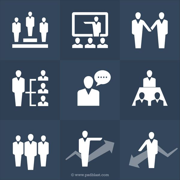 Human Resources Icons Set (PSD)