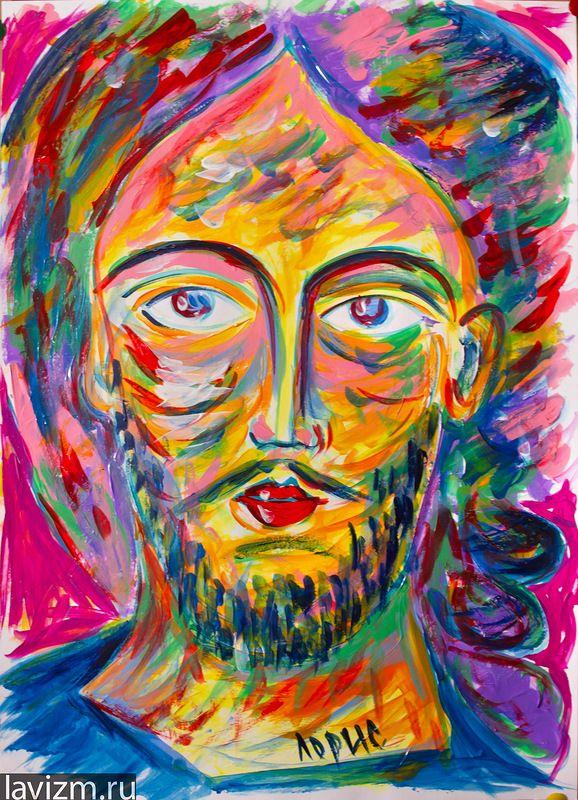 """Портрет """"Иисус Христос"""" 2011 г. Акрил живопись рисунок кистью Константин Лорис-Меликов художник"""