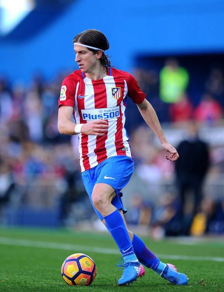 Felipe Luis of Club Atletico de Madrid in action during the La Liga match between Club Atletico de Madrid and FC Barcelona at Vicente Calderon Stadium on February 26, 2017 in Madrid, Spain.