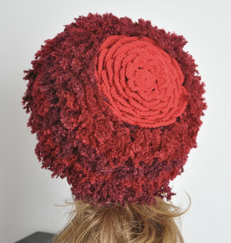 CUSTOMIZED - Floral Hat 4 - Warm - Red - Crochet Flower Adult Hat by jennysunny on Etsy