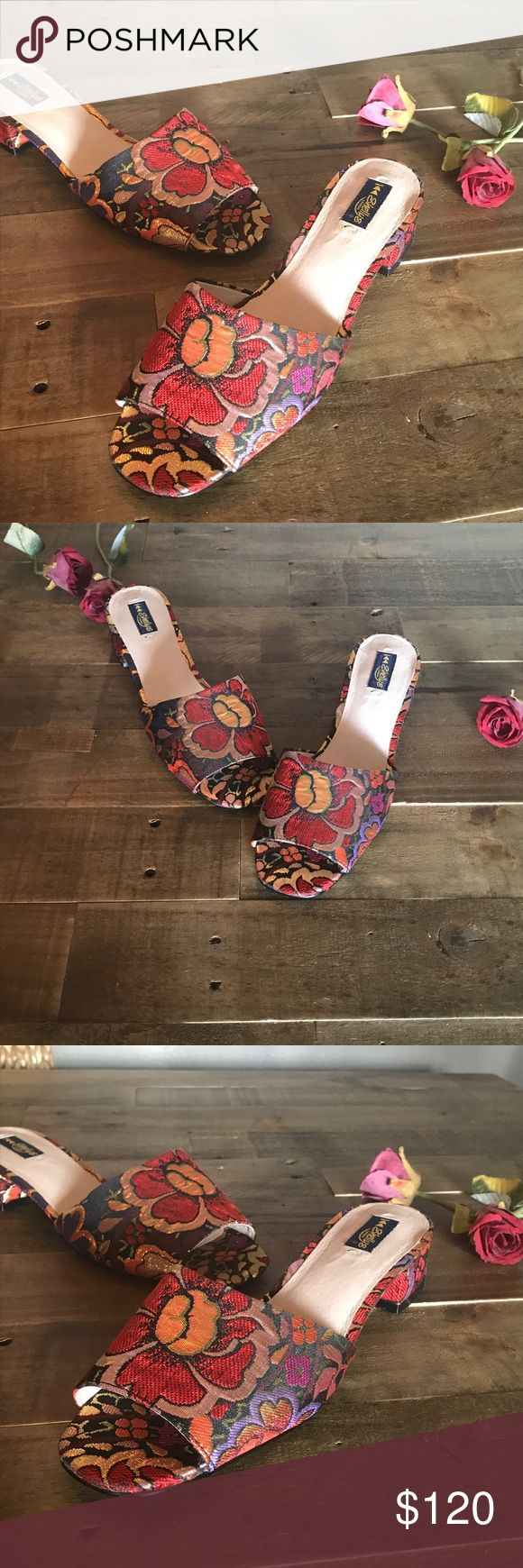 Anthropologie slippers sandals in red and gold Anthropologie  slippers sandals by Ashely's London in red and gold flower motif. Insoles feels padded soft leather. Oh my goodness these are simply stunning and very stylish.  European size 40 US 9.5. Anthropologie Shoes Slippers